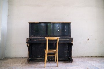 Old wooden piano. Czech Republic