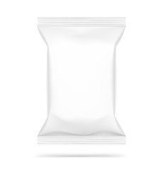 Mockup of food chips pillow bag isolated  on white background. Vector illustration ready and simple to use for your design. The mock-up will make the presentation look as realistic as possible.