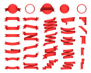 Flat vector ribbons banners flat isolated on white background, Illustration Set.
