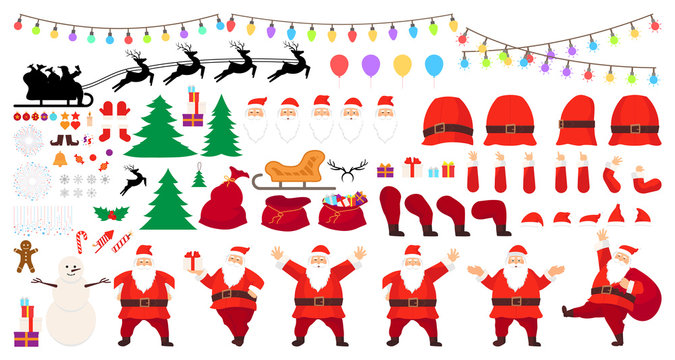 Christmas big set. Santa Claus character creation big set. Full length, different views, emotions, gestures. Build your own design. All Christmas attributes