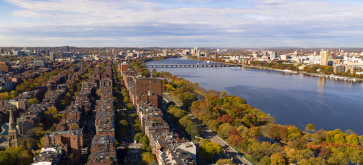 Aerial View South Facing Boston Bridge Charles River Cambridge Massachusetts