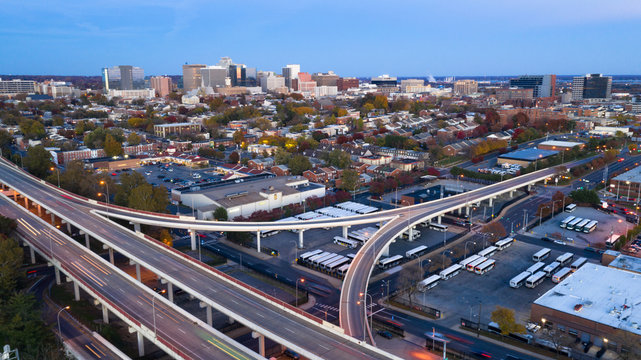 Static Shot Over Highways and Downtown City Skyline Wilmington Delaware