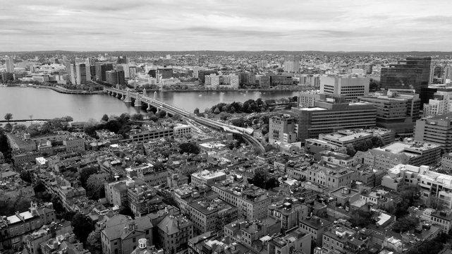 Aerial View Black and White Boston Bridge Charles River Cambridge Massachusetts