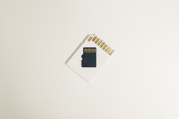 Memory cards isolated on white background. Sd card and copy space