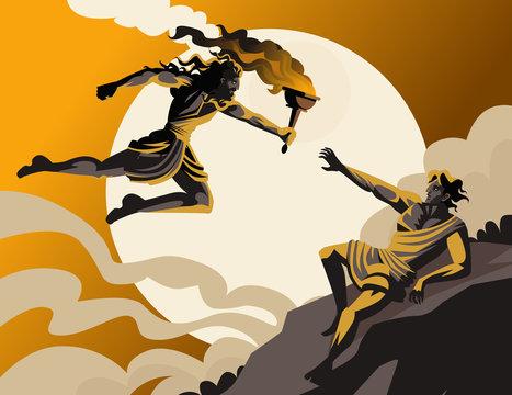 prometheus stealing fire greek mythology