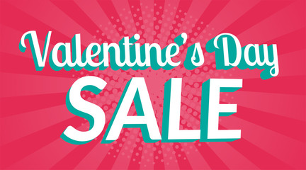 Happy St. Valentine Day sale banner or background. Sale information. Composition with white and red hearts. Vector illustration.