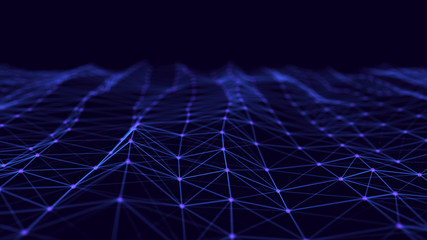 Data technology illustration. Abstract futuristic background. Wave with connecting dots and lines on dark background. Wave of particles. 3d rendering.
