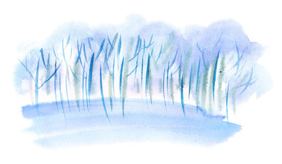 Watercolor trees. Winter blue trees in snow
