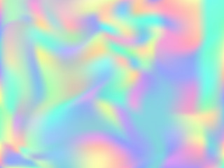 Holographic paper modern background in neon colors. Fashion magazine cover background with neon metallic gradient hologram. Holographic vector design for poster, banner, cover.
