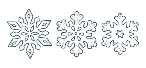 Set snowflakes with three different ornaments. Vector engraving