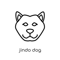Jindo dog icon. Trendy modern flat linear vector Jindo dog icon on white background from thin line dogs collection