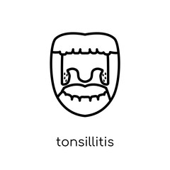 Tonsillitis icon. Trendy modern flat linear vector Tonsillitis icon on white background from thin line Diseases collection