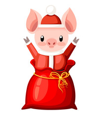 Cute pig in Christmas santa costume. Cartoon character design. Little pig jumps out of the red bag. Pink animal mascot. Flat vector illustration isolated on white background