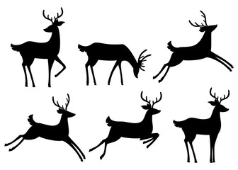 Black silhouette icon collection. Brown deer. Hoofed ruminant mammals. Cartoon animal design. Cute deer with antlers. Flat vector illustration isolated on white background