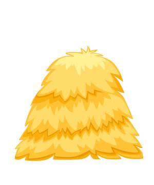 Golden color bale of hay. Haystack flat vector illustration isolated on white background