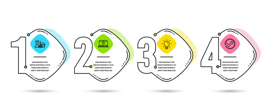 Timeline infographics. Set of Internet downloading, Cleaning service and Light bulb icons. Audit sign. Load data, Bucket with mop, Lamp energy. Arrow graph. Vector