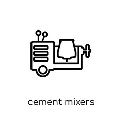 cement mixers icon. Trendy modern flat linear vector cement mixers icon on white background from thin line Construction collection