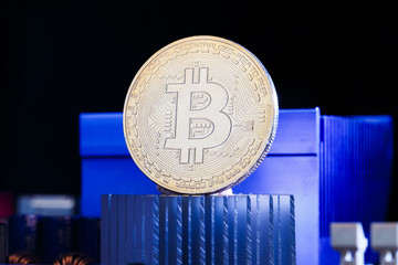 Photo of virtual currency, bitcoin and processor