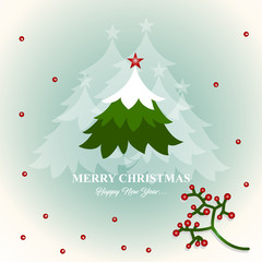 Merry Christmas and Happy New Year card design with berries and tree.