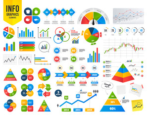 Business infographic template. Food icons. Apple fruit with leaf symbol. Chicken hen bird meat sign. Fish and Chef hat icons. Financial chart. Time counter. Vector