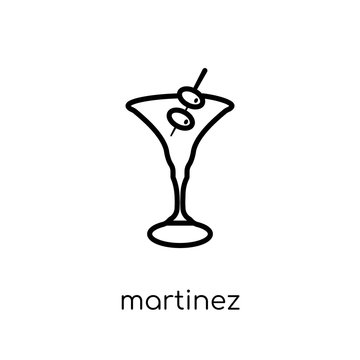 martinez icon. Trendy modern flat linear vector martinez icon on white background from thin line Drinks collection, outline vector illustration
