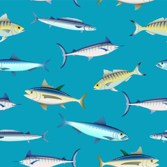 Various fish types on colored background seamless pattern