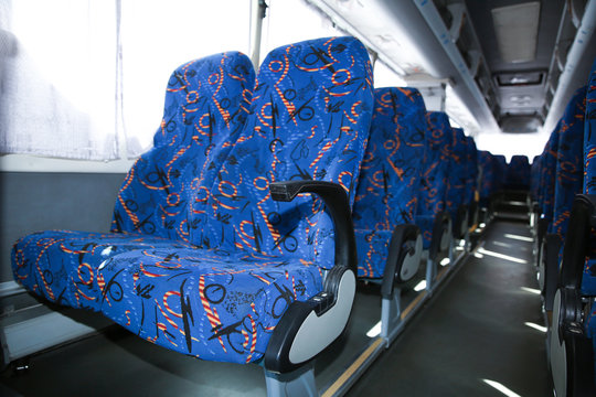 View of bus interior with comfortable seats