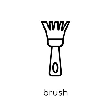 Brush icon. Trendy modern flat linear vector Brush icon on white background from thin line Construction collection
