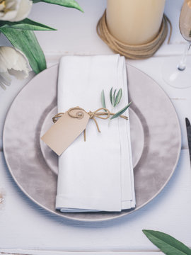 Wedding table setting. Place card mockup.