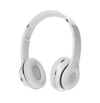 Stylish modern headphones with earmuffs on white background
