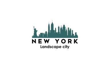 new york modern city landscape skyline logo design inspiration