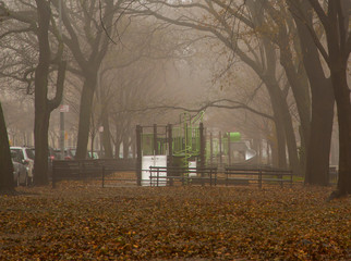 Empty Play Ground West Side NYC on A Rainy Day