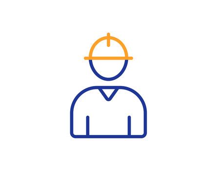 Worker line icon. Engineer Profile sign. Male Person silhouette symbol. Colorful outline concept. Blue and orange thin line color icon. Engineer Vector
