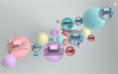 3d rendering of floating polished blue, pink, turquose and shining marble spheres on white background. Abstract geometric composition. Group of balls in pastel colors with soft shadows