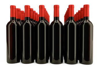 3D rendering: Bottles of red wine isolated against white background