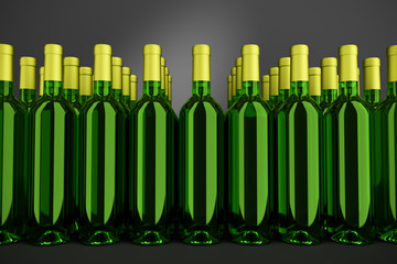 3D rendering: Bottles of white. wine in front of dark background