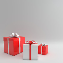 3d rendering of realistic red and white gift box with ribbon bow on white studio background. Empty space for party, promotion social media banners, posters.