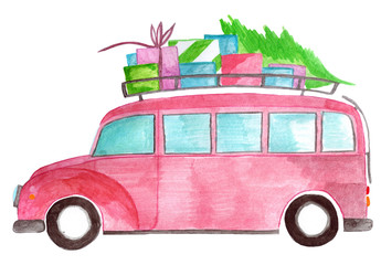 Watercolor car with gifts and tree