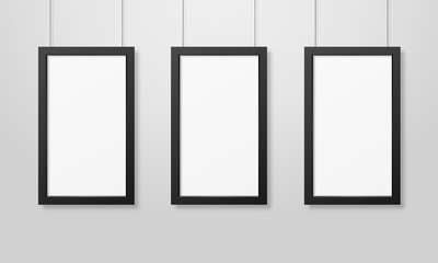 Three Vector Realistic Modern Interior Black Blank Wooden Poster Picture Frame Set Hanging on the Ropes on White Wall Mock-up. Empty Poster Frames Design Template for Mockup, Presentation
