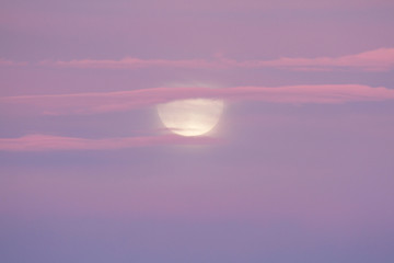Moon and clouds at sunset from Carpenter Mountain fire lookout, H.J. Andrews Experimental Forest, Willamette National Forest, Oregon, USA