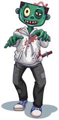 A zombie character on white background