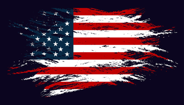 Grunge Flag of the USA. Vector illustration in with grunge texture.