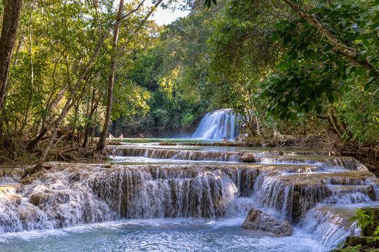 Amazing waterfall scenario in Bonito, Brazil