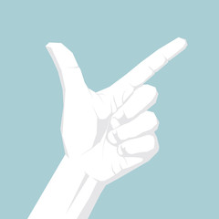 Vector drawn gesture symbol. Isolated on blue background.