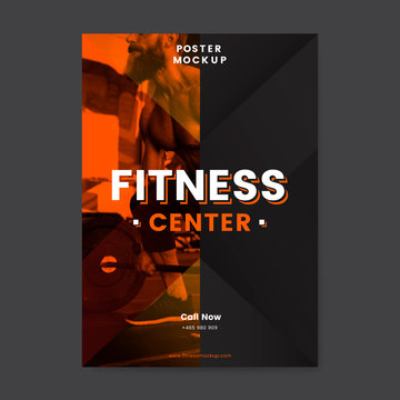 Fitness center promotional poster vector