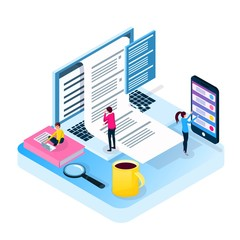 Isometric Exam online. Volume vector illustration in the style of flat. People pass the test with half a computer, a phone, a laptop. Business education, courses, school, university. Landing for web.