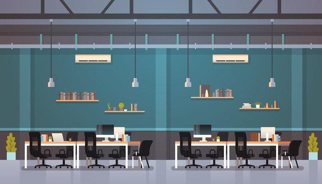 modern office interior workplace desk creative co-working center workspace flat horizontal
