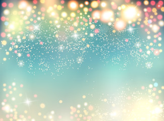 Abstract holiday christmas lights on background. Vector illustration