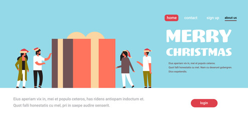 people standing near huge gift box present merry christmas happy new year holiday concept flat horizontal copy space vector illustration