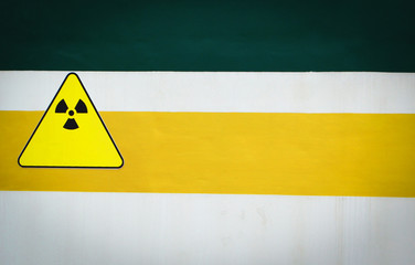 warning sign radiation caution on wall